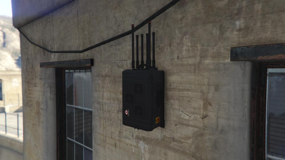 Ein GTA 5 Störsender an einer Hauswand